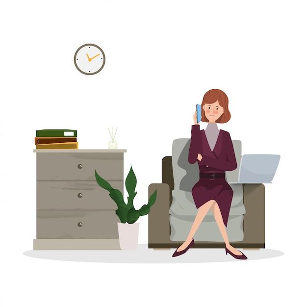 Giovane donna di affari che lavora al computer portatile. personaggio disegnato a mano persone che lavorano progettazione del lavoro. Vettore Premium