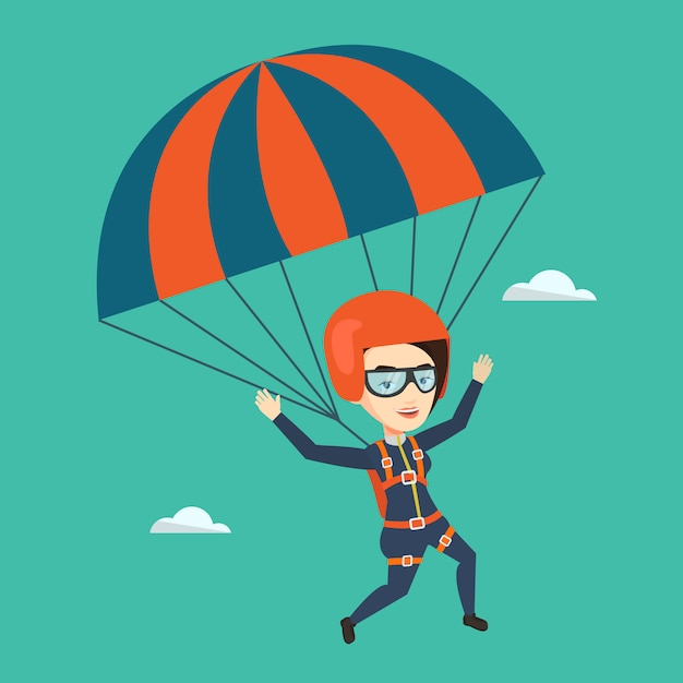 Giovane donna felice volando con il paracadute. Vettore Premium