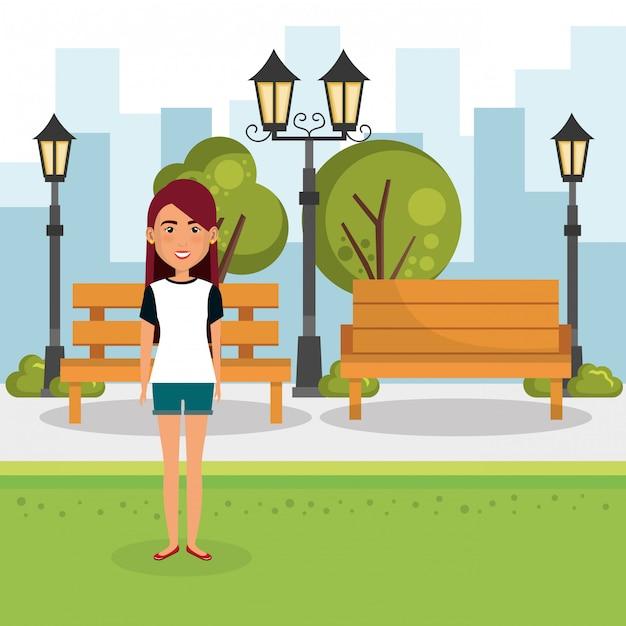 Giovane donna fuori casa Vettore gratuito