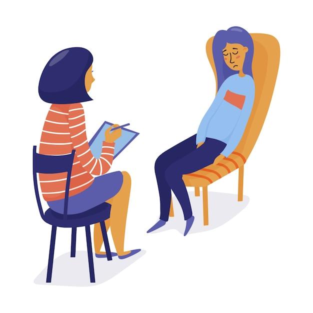 Giovane donna graziosa, ragazza che visita un terapeuta, sentirsi triste e frustrato, illustrazione vettoriale piatta Vettore Premium