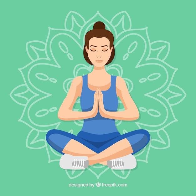Giovane donna meditando Vettore gratuito