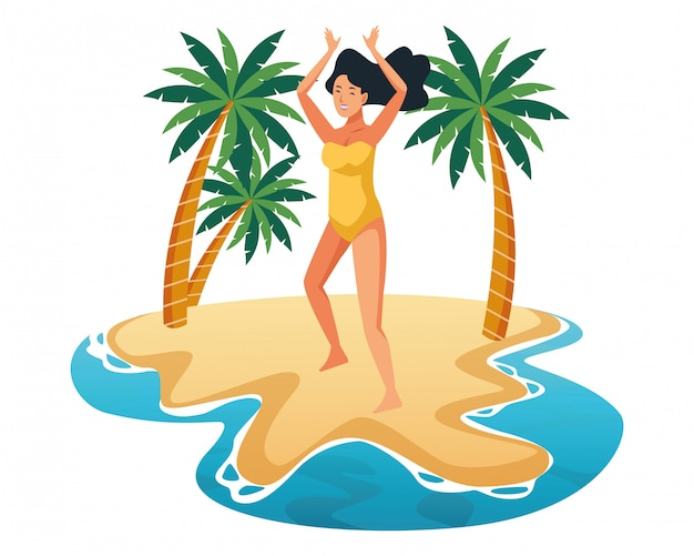 Giovane donna nel cartone animato di costume da bagno Vettore gratuito