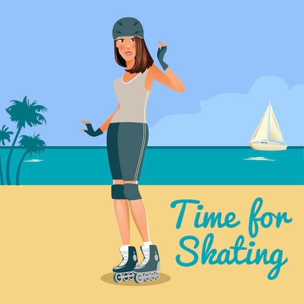 Giovane donna su pattinaggio a rotelle lungo la costa. persone attive. illustrazione vettoriale Vettore Premium