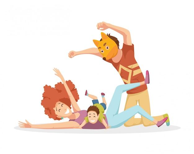 Giovane famiglia allegra con bambini che ridono e si divertono insieme, genitori con bambini che si divertono a giocare a casa. padre in maschera di volpe. Vettore Premium