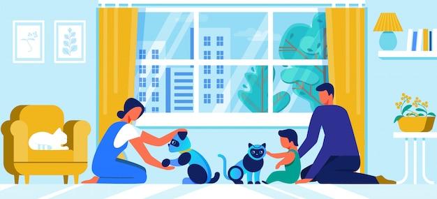 Giovane famiglia con little baby gioca con robot pets Vettore Premium