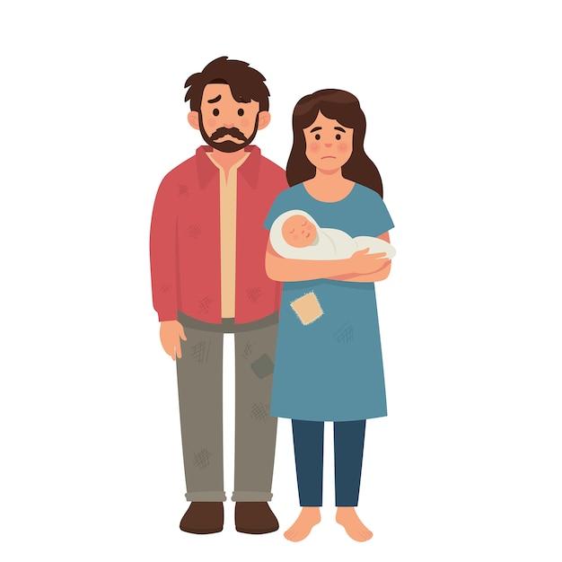 Giovane famiglia povera, padre, madre e bambino in cattive condizioni Vettore Premium
