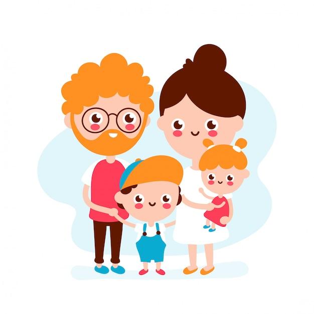 Giovane famiglia sorridente felice sveglia padre, madre, figlio e figlia insieme. icona illustrazione moderna stile piatto. isolato su bianco famiglia felice Vettore Premium