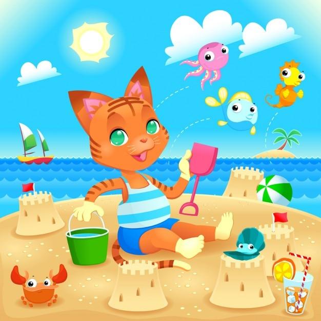 Giovane gatto fa castelli sulla spiaggia illustrazione