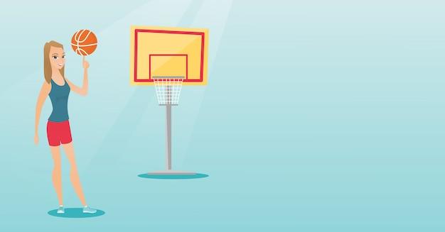 Giovane giocatore di pallacanestro caucasico che fila una sfera. Vettore Premium