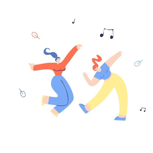 Giovane illustrazione piana ballante delle ragazze di dancing Vettore Premium