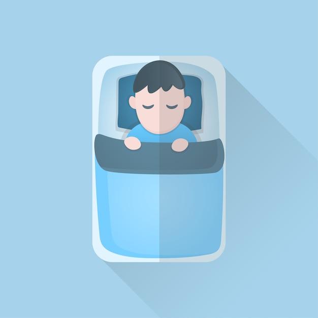 Giovane in coperta che dorme sul letto Vettore Premium