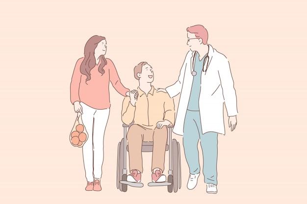 Giovane in sedia a rotelle con sua moglie che parla con fisioterapista. Vettore Premium