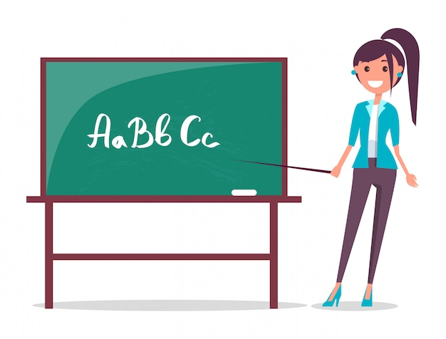 Giovane insegnante e lavagna Vettore Premium