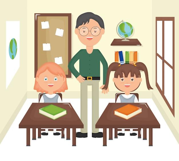 Giovane insegnante maschio con gli studenti in classe Vettore gratuito