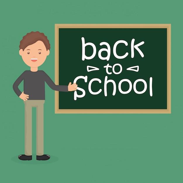 Giovane insegnante maschio con lavagna. di nuovo a scuola Vettore gratuito