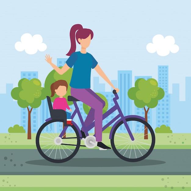 Giovane madre in bicicletta con la figlia nel parco Vettore gratuito
