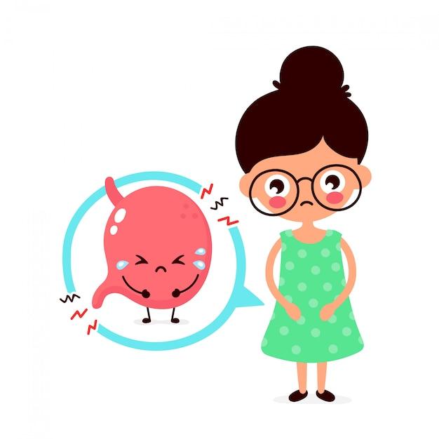 Giovane malato triste con carattere di intossicazione alimentare. icona illustrazione piatto dei cartoni animati. isolato su bianco apparato digerente, stomaco, mal di stomaco, dolore, malessere, dolore Vettore Premium