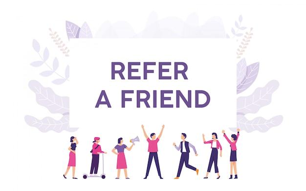 Giovane offre rinvii ai suoi amici e loro sono interessati Vettore Premium