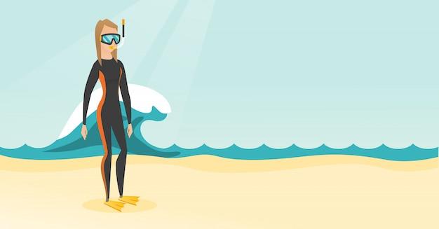 Giovane operatore subacqueo di scuba caucasico in muta subacquea. Vettore Premium