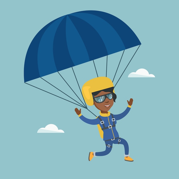 Giovane paracadutista africano volare con un paracadute. Vettore Premium