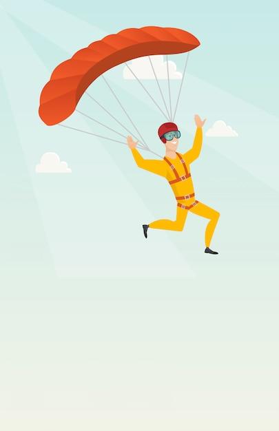 Giovane paracadutista caucasico che vola con un paracadute Vettore Premium