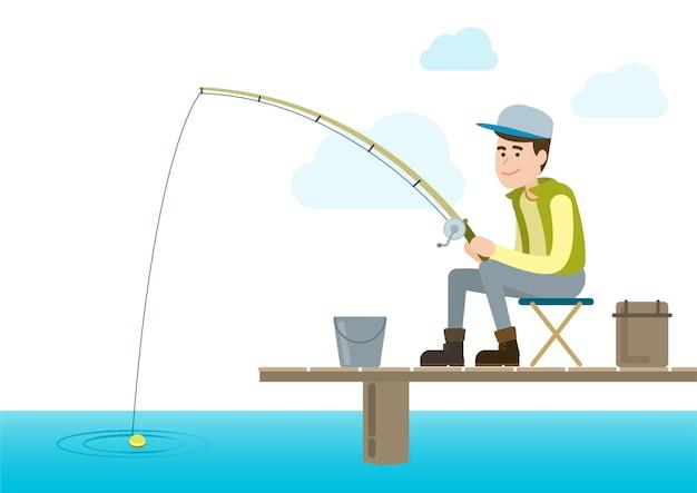 Giovane pescatore con canna da pesca Vettore Premium