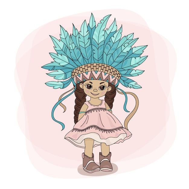 Giovane pocahontas indian princess hero Vettore Premium