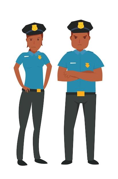 Giovane polizia afroamericana Vettore Premium