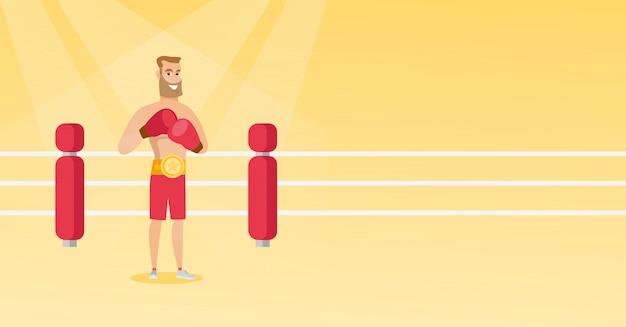 Giovane pugile sicuro caucasico sul ring. Vettore Premium