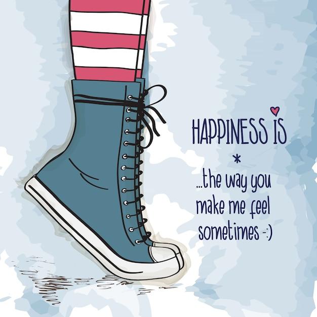 Giovane ragazza con le scarpe in scarpe da ginnastica, in piedi in punta di piedi, carta di amore Vettore Premium
