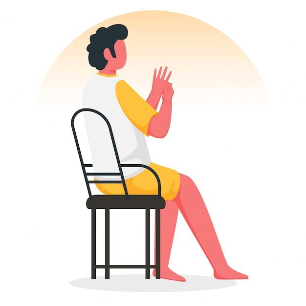 Giovane ragazzo anonimo che fa massaggio della mano di digitopressione alla sedia. Vettore Premium
