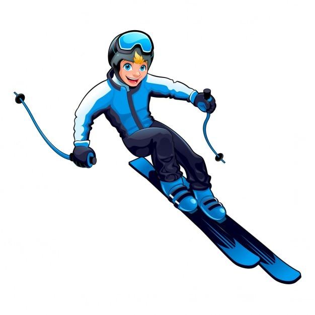 Giovane sciatore vector cartoon carattere isolato Vettore gratuito