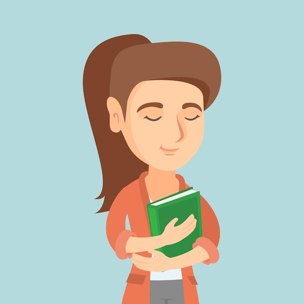 Giovane studente caucasico che abbraccia un libro. Vettore Premium