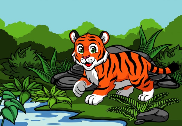 Giovane tigre nella giungla Vettore Premium