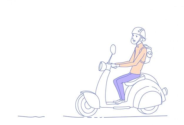 Giovane tipo che guida orizzontale di scarabocchio di schizzo del carattere dell'uomo isolato motociclo elettrico d'annata del motorino Vettore Premium