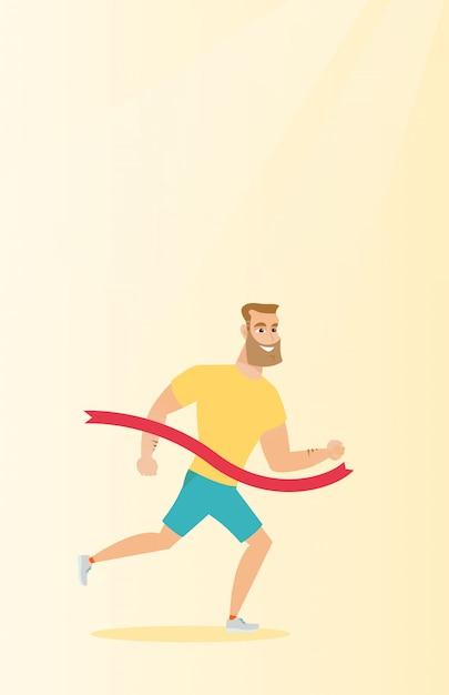 Giovane traguardo di attraversamento sportivo caucasico. Vettore Premium