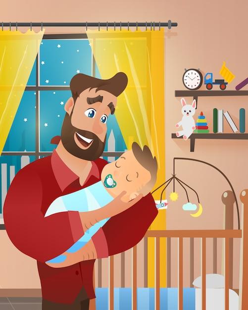 Giovane uomo barbuto che tiene neonato Vettore gratuito