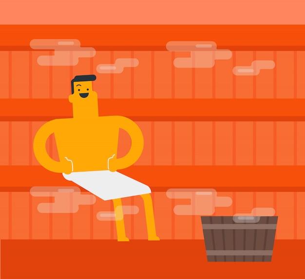 Giovane uomo bianco caucasico che si distende nella sauna. Vettore Premium