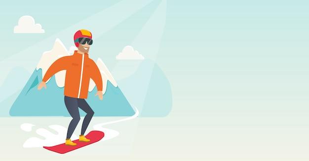 Giovane uomo caucasico snowboard. Vettore Premium