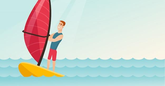 Giovane uomo caucasico windsurf in mare Vettore Premium