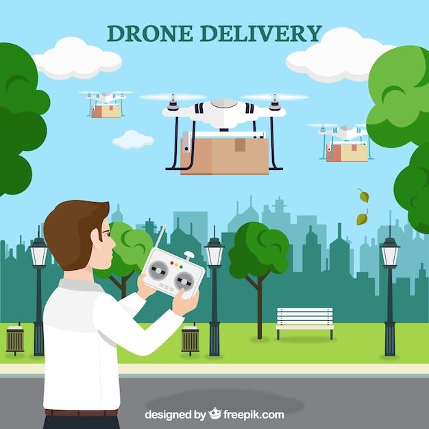 Giovane uomo che controlla diversi drones Vettore gratuito