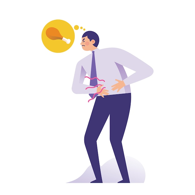 Giovane uomo d'affari che tiene il suo stomaco a causa della fame Vettore Premium