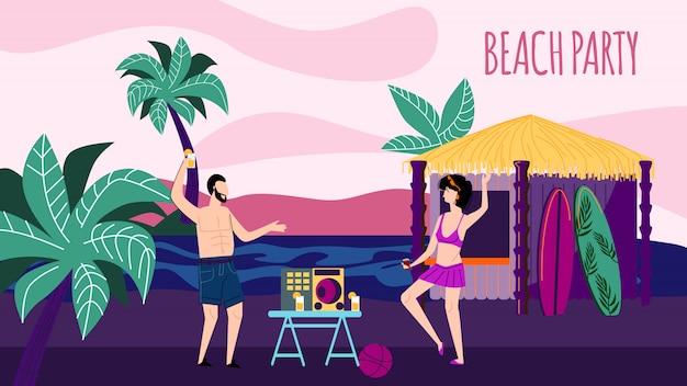 Giovane uomo e donna che balla di notte sandy seaside Vettore Premium