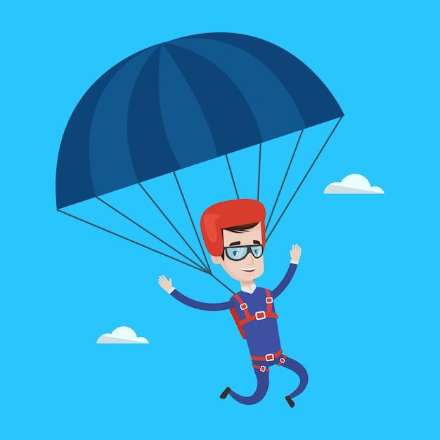Giovane uomo felice volando con il paracadute. Vettore Premium