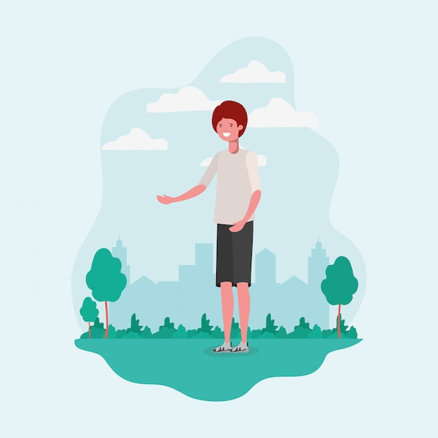 Giovane uomo in piedi nel personaggio del parco Vettore gratuito