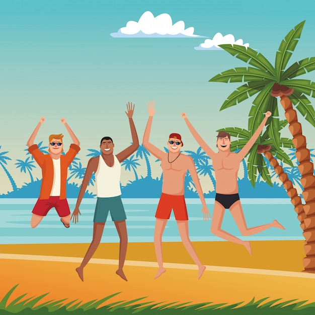Giovani amici e cartoni animati estivi Vettore gratuito
