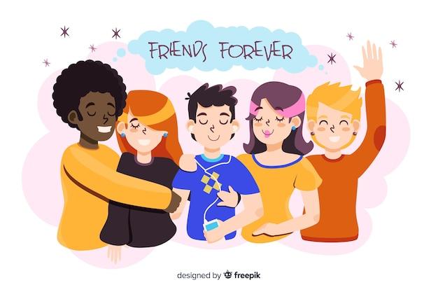 Giovani che abbracciano insieme Vettore gratuito