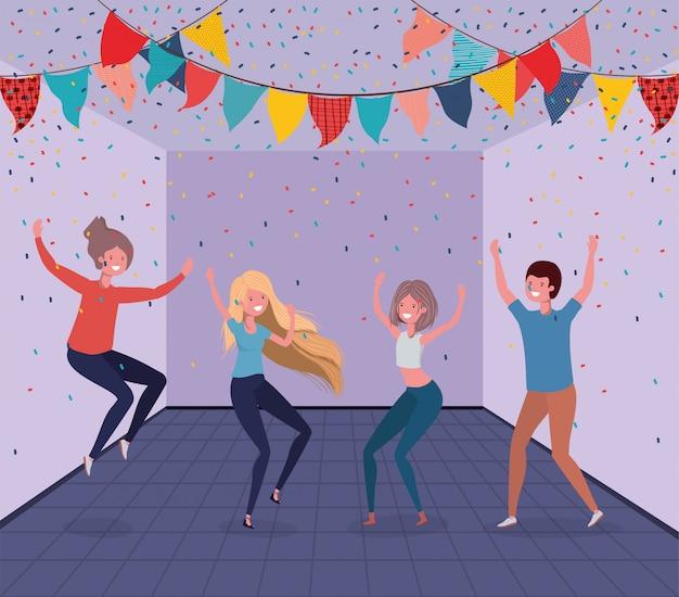Giovani che ballano nella stanza Vettore gratuito