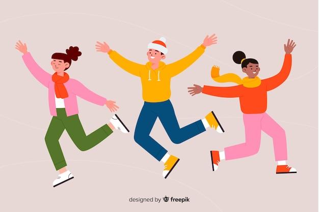Giovani che indossano abiti invernali saltando design piatto giovani che indossano abiti invernali saltando design piatto Vettore gratuito