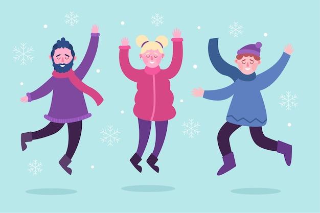 Giovani che indossano il pacchetto di salto dei vestiti di inverno Vettore gratuito